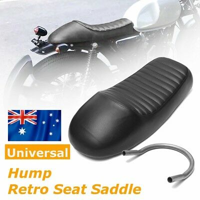 Black Universal Vintage Motorcycle Cafe Racer Hump Seat Saddle + Hoop Seat Loop