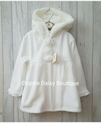 ☆ Stunning Ivory Traditional Style Smocked Coat Fur Trim Hood from Mintini Baby☆