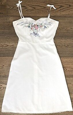 Vintage 1960s White Pink Blue Green Red Brown Yellow Embroidered Cotton Dress XS