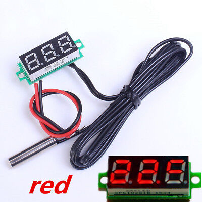 0.28Inch Red Digital Thermometer w/ NTC Metal Waterproof Probe Temperature