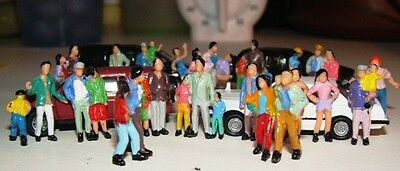 100 PEOPLE hand painted standing Figures train passenger 19mm tall HO 1/87 Scale