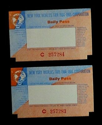 1964/1965 New York World's Fair Daily Passes - Two (2) Possibly Free Shipping