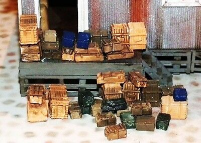 30 CRATES & BOXES Trailer Flatbed Load HO OO 1/87 scale UNPAINTED cast Resin TNT
