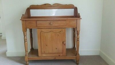Pine Washstand with White Tiles a draw and a Cupboard