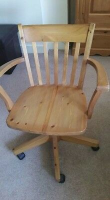 Captains Pine Adjustable Chair with Tilt and on Wheels