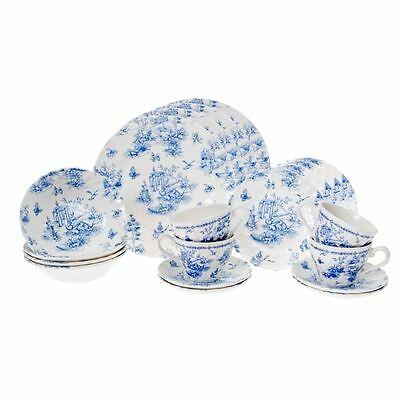Toile Blue Chelsea by Churchill - 20pc Dinner Set (Made in England)