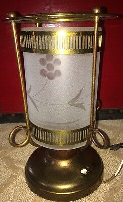 Vintage Virden?  Art Deco Style  Frosted Glass Brass Ceiling Light Fixture Lamp