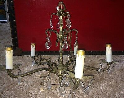 Vintage Spanish BRASS & CRYSTAL glass CHANDELIER 5 light, 15 arms Gothic