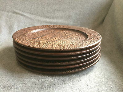 6 Wood Plates Wenge Timber Danish Rare Excellent Condition