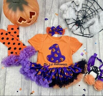 BABY GIRL HALLOWEEN WITCH tutu romper FANCY DRESS Outfit PUMPKIN Party COSTUME