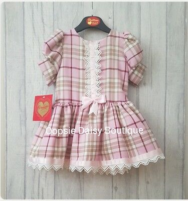 ☆ Baby Girls Stunning Tartan Dress Ribbons & Bow TuTu Trim Underskirt ☆Frillies