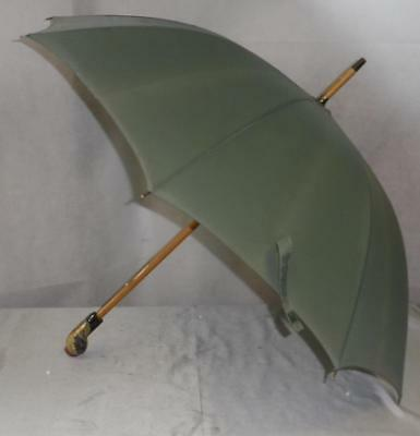 Vintage Pale Green Canopy Umbrella- Hand Carved Owl Handle W/Glass Eyes-