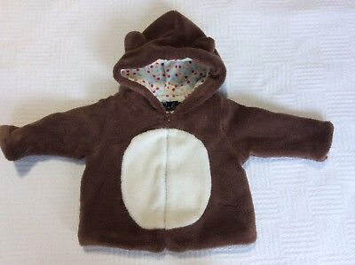 Oobi 0-6 m brown bear like soft lined jacket GUC spot fabric lined little ears