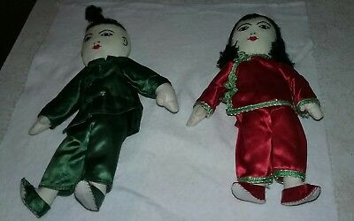 Vintage CHINESE Cloth Rag dolls set of 2 boy and girl  Hong Kong