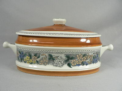 Goebel Oval Covered Serving Bowl Ovenproof w/ Lid Burgund Bavaria W. Germany