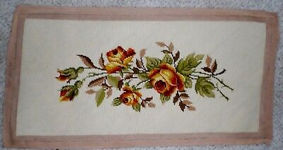 used vintage wool needlepoint floral bench cover