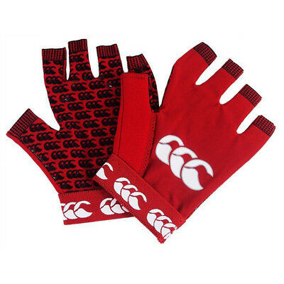 Canterbury Mens Pro Grip Mitt Wicking CCC Logoed Fingerless Gloves
