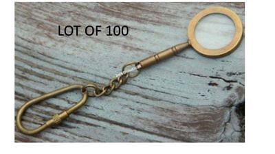 Lot Of 100 Brass Antique Maritime Magnifier Glass Key Chain & Antique Finish Rep