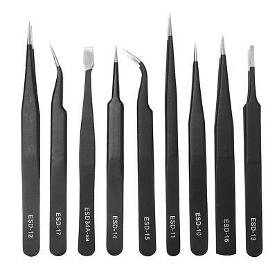 [NEW] DANIU 9pcs ESD Stainless Steel Anti-static Tweezers with Storage Bag Teard