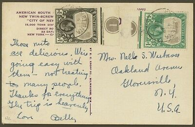 1936 St. Helena Post Card to the USA, with plate numbers. E2023
