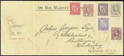 St. Vincent 1907 Registered cover to Germany. E2009