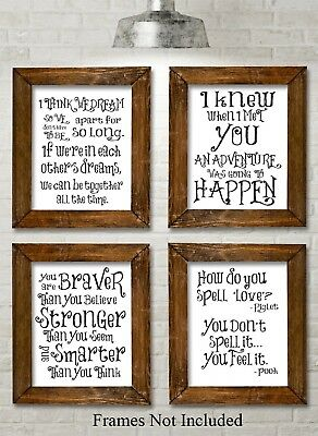 Winnie the Pooh Quotes and Sayings Art Prints - Set of Four Photos (8x10) - for
