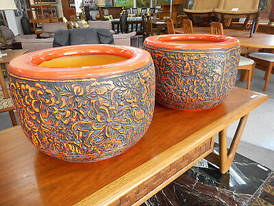 Mid Century Modern Pair of Large Ceramic Planters Jardiniere Pots Orange Floral