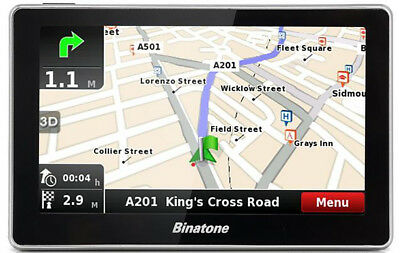 "Binatone A505 Satellite Navigation UK ROI Maps 5"" LCD Screen Black And Silver"