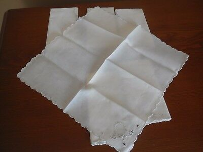 Vintage White Flower Embroidered  Linen Luncheon Cocktail Napkins Set 6