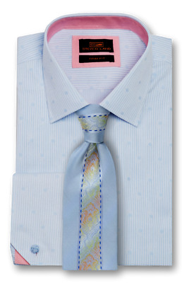 Dress Shirt Only Steven Land Trim/&Classic Fit Angled French Cuff-Blue-TA1729-BL