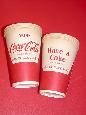 6 Vintage 1950's 1960's Coke Coca-Cola SODA Wax PAPER Dixie CUPS Old Store Stock
