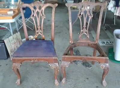 Vintage Mahogany Clawfoot Side Chairs