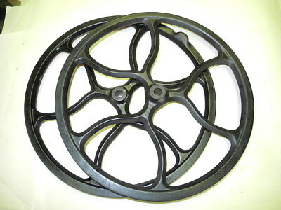 Vintage Set 2 Steampunk Cast Iron Pulley Or Belt Wheels, Nice, Clean Condition