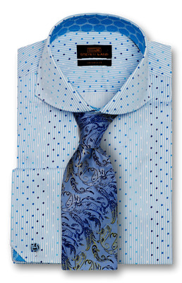 98465f0be4cf41 Dress Shirt Only Steven Land Trim&Classic Fit Angled French Cuff-Blue  -TA1735-BL