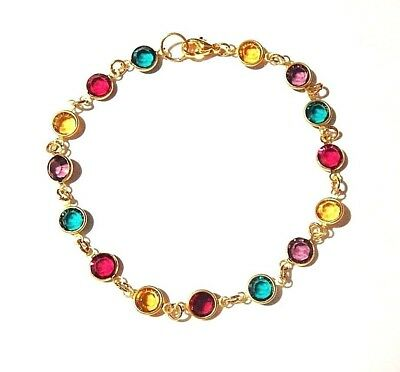 """Multi-Colored Crystal Bracelet Round Faceted Stones in 22k Gold Plate Large 8.5"""""""