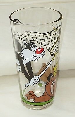 Warner Bros/Pepsi Sylvester & Tweety with Bulldog 16-oz  Glass Tumbler-1976