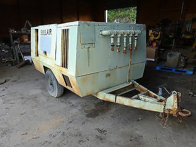 Sullair 375 CFM Air Compressor JOHN DEERE TURBO DIESEL VIDEO! RUNS EXC. TRAILER