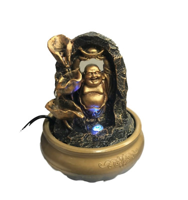 Buddha Water Feature Table Top Indoor LED Lights Multiple Colours Waterfall