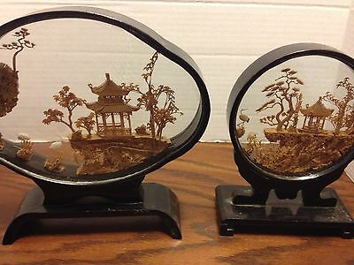 2 x VINTAGE CHINESE HAND CARVED CORK ORIGAMI DIORAMA
