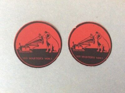 "2 Antique ""HIS MASTER'S VOICE"" VICTOR GRAMOPHONE Labels"