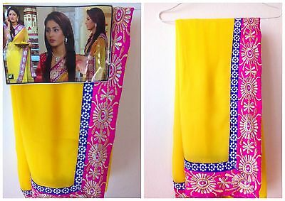 New Indian Bollywood Asian Saree Sari Yellow Hot Pink Blue Blouse Piece Suit