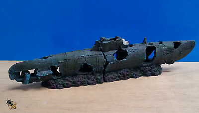 Aquarium Ornament Submarine U boat Wreck Fish Tank Decoration New