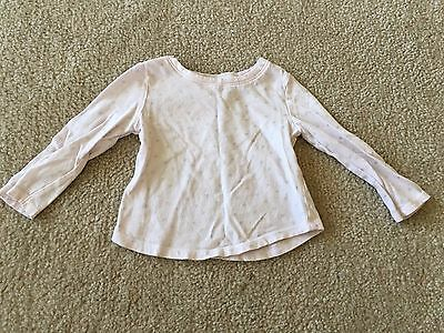 Old Navy Girl's Light Pink Long-Sleeve Shirt, Silver Flowers, Size 18-24 Months