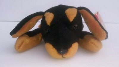 Ty DOBY the Doberman Dog Beanie Baby with MISTAKES! NWT Rare & Retired