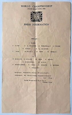 1966 WORLD CUP FINAL England v West Germany (SCARCE Original Press Team Sheet)