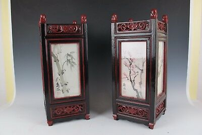 A Pair of Chinese Square Lantern lamp Dark wood &Paper Painting by SuFeng Yang