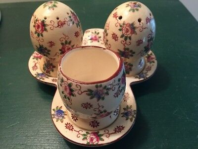 Japan Chintz Salt Pepper Quail Egg Cup Tray Holder Condiment Set