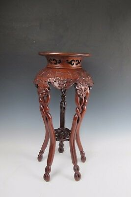An Antique Red Wood Carving Pedestal Table / Stool / Flower Stand 5 legs