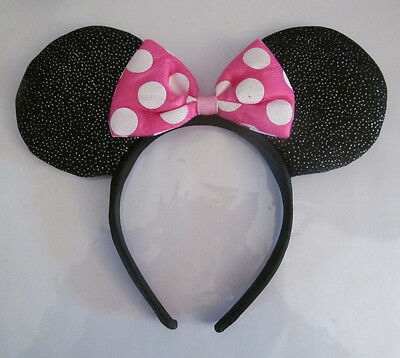 Disney Licensed Minnie Mouse Glitter Headband Ears Bow Costume - SEE DESCRIPTION