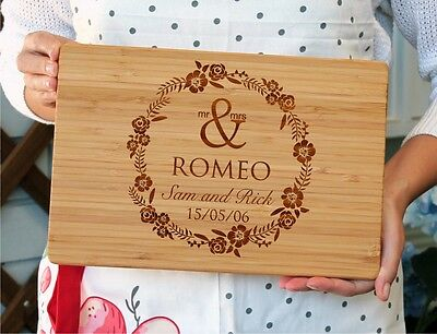 Personalized laser engraved cutting board, custom chopping board, floral design